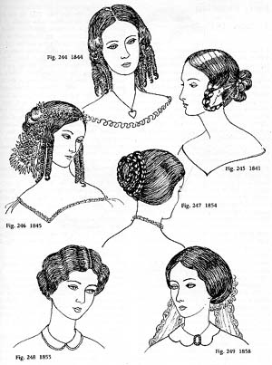 Drawings of early Victorian hairstyles. (DeCourtais 125)