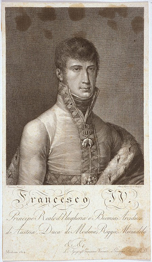 Incisione del duca Francesco IV di Modena