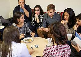 Photo of students enjoying Tea House